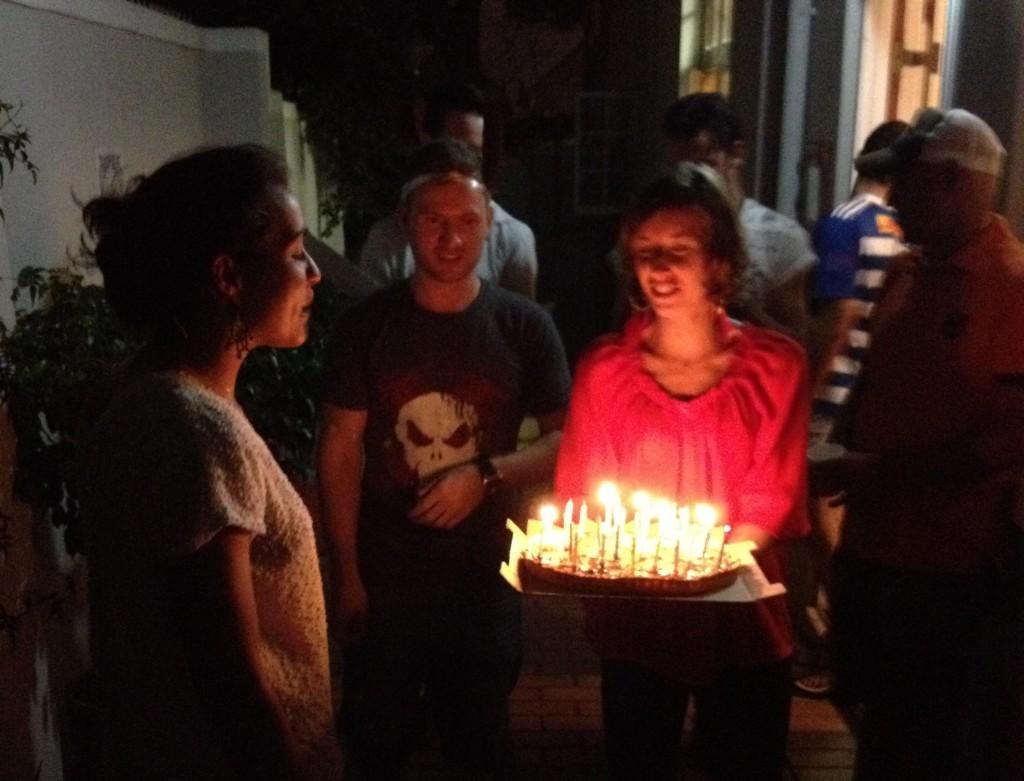 Aurélie blowing his 28 candles!